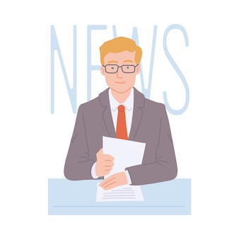 Uomo lettore di notizie tv o presentatore alla sua scrivania