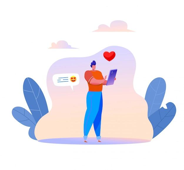 Uomo digitando su smartphone invio messaggio e icona del cuore in chat con gli amici.