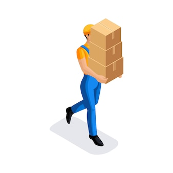 L'uomo in uniforme ha molte scatole di cartone con gli ordini. furgone di consegna veloce. fattorino. carattere dell'emozione. illustrazione