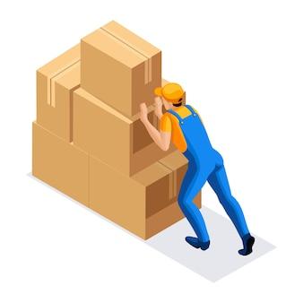 Uomo in uniforme spinge una grande montagna di scatole di cartone, vista posteriore. concetto di magazzino. carattere dell'emozione. illustrazione