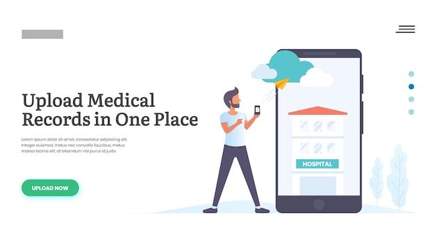 Uomo che carica cartelle cliniche tramite cellulare