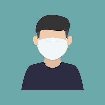 L'uomo usa la maschera design piatto illustrazione