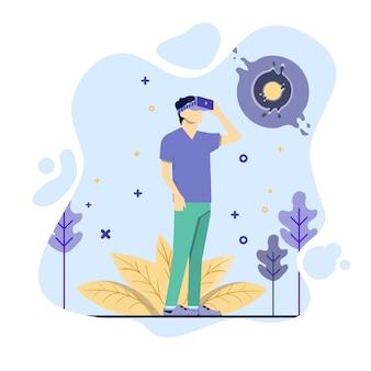 L'uomo usa il concetto di illustrazione di realtà virtuale