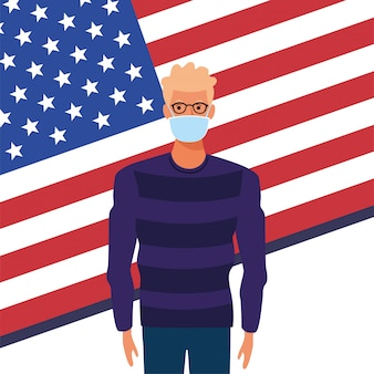Uomo che usando la maschera con la bandiera degli stati uniti