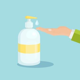 Uomo che utilizza gel o sapone disinfettante per le mani con erogatore a pompa. igiene, lavarsi le mani