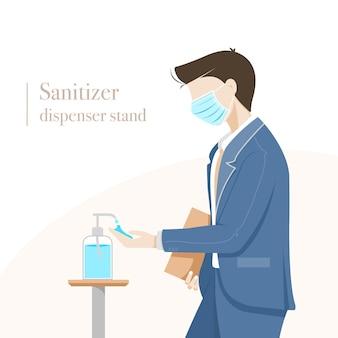 Uomo che utilizza disinfettante per le mani
