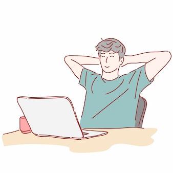 Uomo che utilizza computer portatile in mano disegnata