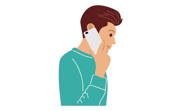 Uomo che utilizza il telefono cellulare per parlare