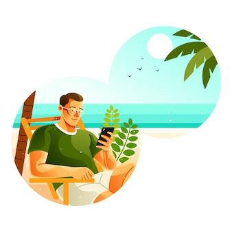 Uomo che utilizza lo smartphone sulla spiaggia in estate
