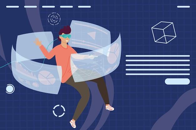 Uomo che utilizza la maschera di realtà virtuale e mostra intorno con il disegno dell'illustrazione della figura del cubo
