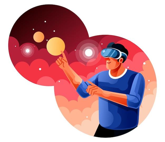 Uomo che utilizza un auricolare vr di realtà virtuale
