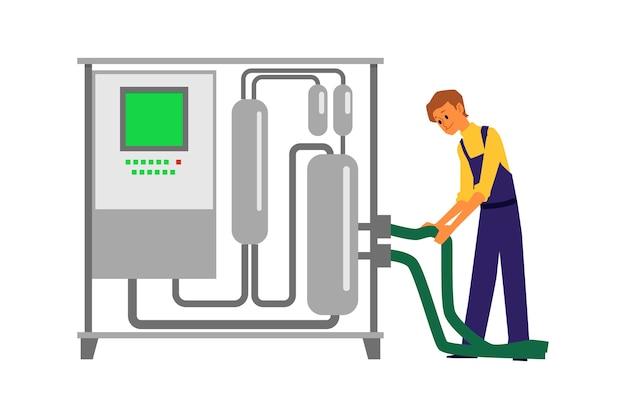 Uomo che utilizza l'attrezzatura per la vinificazione - serbatoio di distilleria in acciaio con pannello di controllo e tubo flessibile su sfondo bianco. operaio della cantina che lavora con il distillatore - illustrazione.