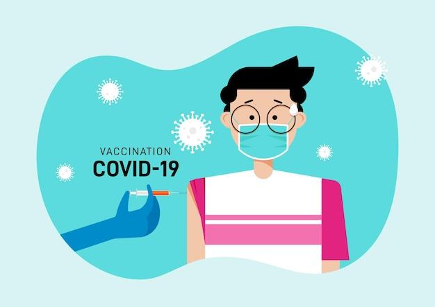 Un uomo ha vaccinato il vaccino covid19 dal medico per prevenire focolai di malattia da coronavirus illustrazione vettoriale in stile design piatto