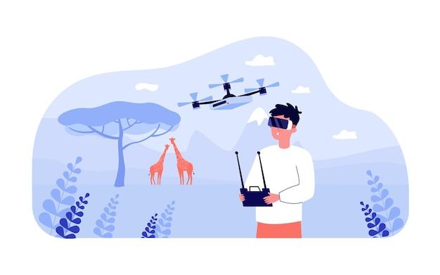 Uomo in occhiali per realtà virtuale che volano drone all'aperto. personaggio maschile che utilizza la tecnologia moderna nell'illustrazione vettoriale piatta della savana. vr, concetto di viaggio per banner, progettazione di siti web o pagina web di destinazione