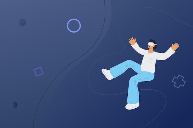 L'uomo con le cuffie da realtà virtuale si gode l'esperienza.
