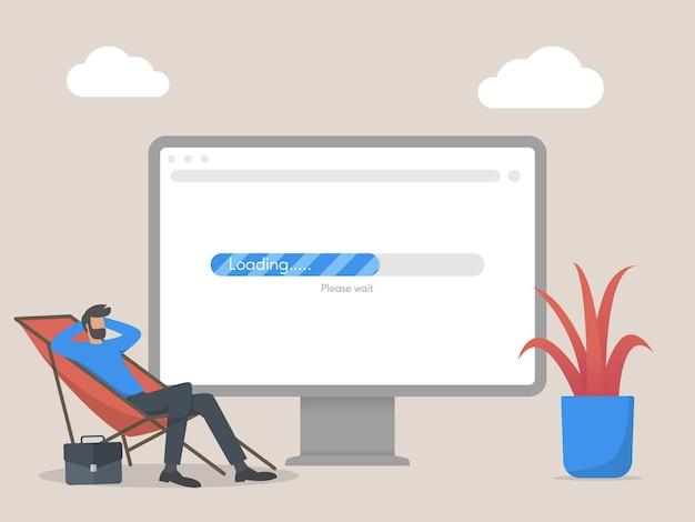 Illustrazione di concetto di caricamento web in attesa dell'uomo