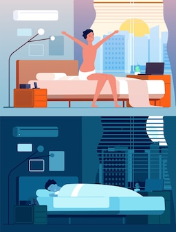 L'uomo si sveglia. i personaggi maschili a letto la notte si rilassano la mattina seduta e si svegliano la persona piatta. persona maschio dormire in camera da letto, svegliarsi e dormire illustrazione