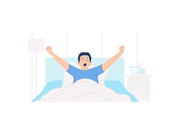 Uomo che si sveglia a letto e allunga la sua illustrazione di concetto di braccia