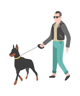 Uomo che cammina cane. la persona felice cammina e gioca il suo animale domestico, personaggio semplice di vettore piatto