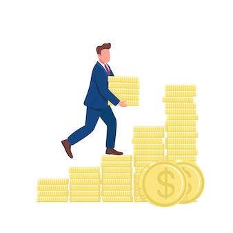 Uomo che cammina sull'illustrazione piana di concetto delle monete d'oro. imprenditore di successo salendo la scala dei soldi personaggio dei cartoni animati 2d per il web design. idea creativa di successo finanziario
