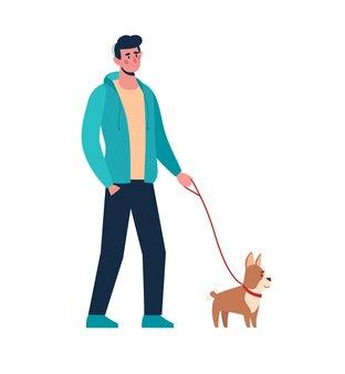 Uomo che cammina con un cagnolino