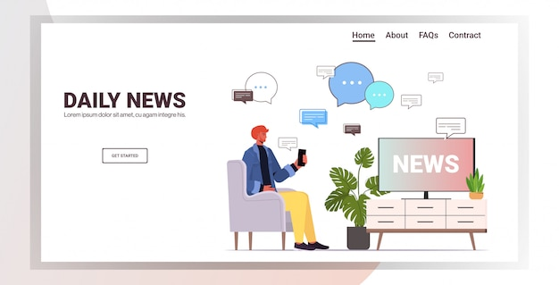 Uomo che guarda la tv e discutere le notizie quotidiane in chat mobile app chat bolla comunicazione concetto ritratto orizzontale copia spazio illustrazione