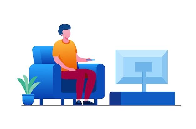 Uomo che guarda la tv o il concetto di relax. illustrazione vettoriale piatta