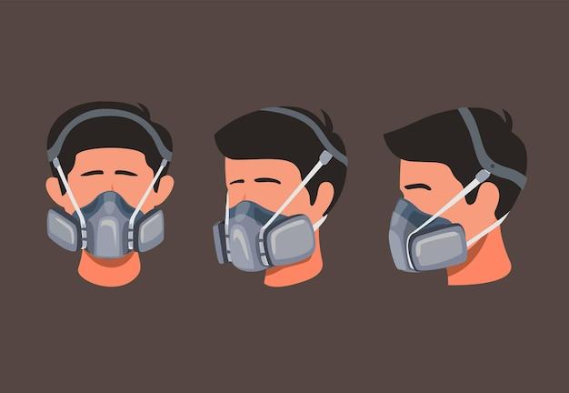 L'uomo indossa la maschera di sicurezza del respiratore per polvere o inquinamento chimico nel concetto stabilito dell'icona dell'angolo anteriore e laterale nell'illustrazione del fumetto