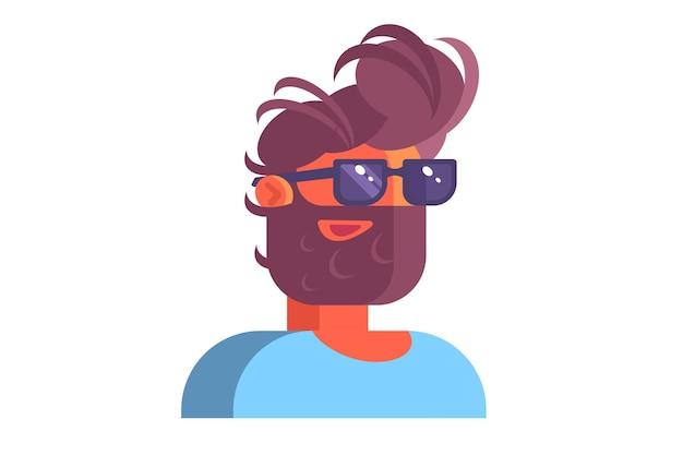 Uomo che indossa occhiali neri illustrazione. elegante ragazzo barbuto in stile piatto camicia blu.