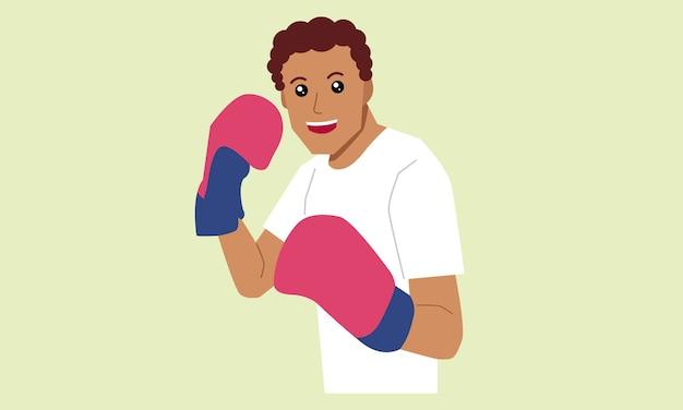 Uomo che indossa guantoni da boxe sport