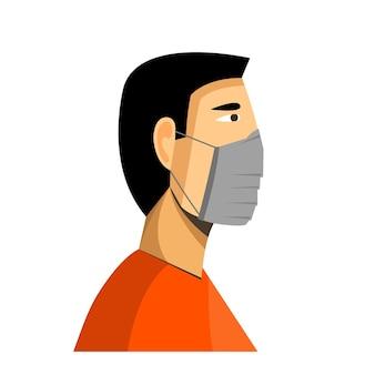 L'uomo che indossa la mascherina