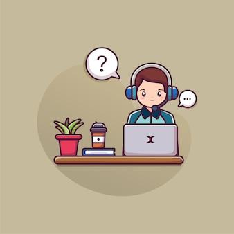 Uomo che indossa la cuffia lavorando sul computer portatile con il servizio di assistenza clienti call center concetto
