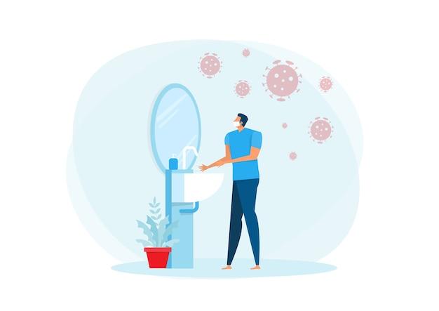 Un uomo che indossa una maschera medica e si lava le mani nell'illustrazione del concetto di lavandino.