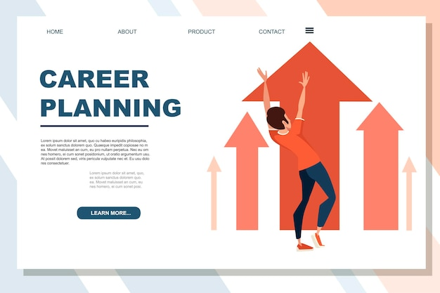 Uomo che indossa tuta sportiva con mano alzata carriera pianificazione concetto personaggio dei cartoni animati design piatto vettoriale illustrazione su sfondo bianco banner pubblicitario pagina del sito web.