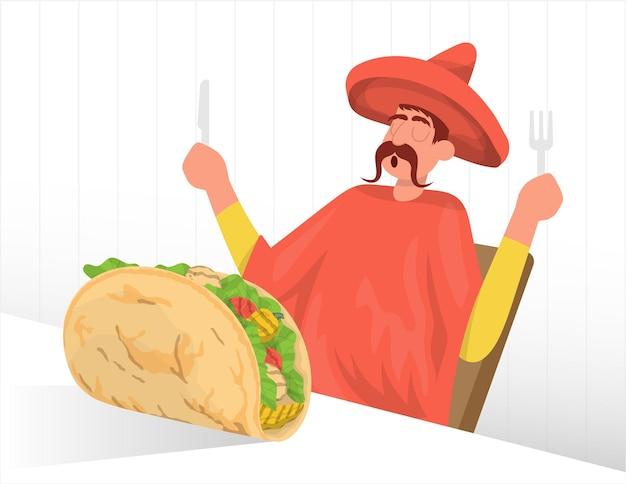 L'uomo che indossa un vestito messicano tradizionale mangia un grosso taco vector flat illustration