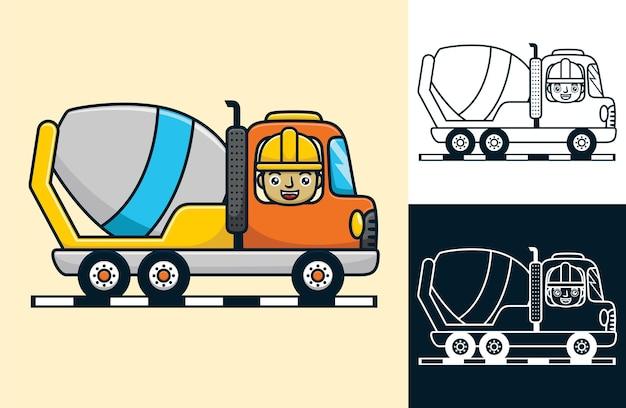 Uomo che indossa il casco del lavoratore alla guida del camion della betoniera. illustrazione del fumetto di vettore nello stile dell'icona piana