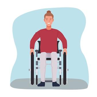 Uomo in icona del personaggio di sedia a rotelle