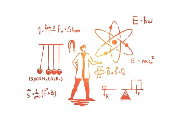 Uomo in camice bianco, illustrazione di esperimenti scientifici