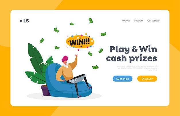 L'uomo vince soldi nel modello della pagina di destinazione di internet