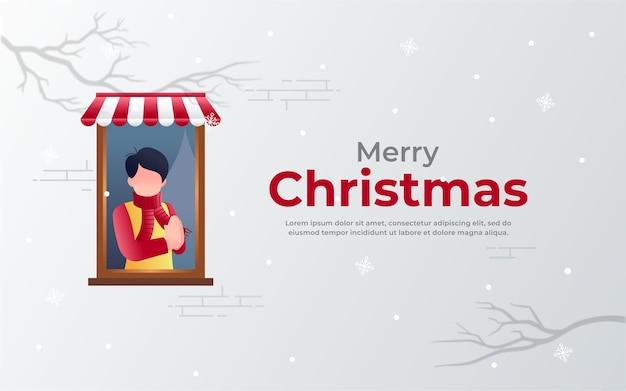 Uomo su windows usa sciarpa sfondo natalizio