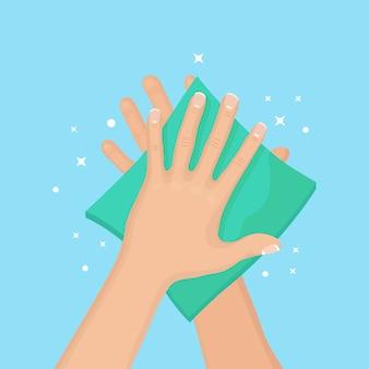 Uomo pulire, asciugare le mani pulite con tovaglioli, tovagliolo di carta. igiene, concetto di buone abitudini.