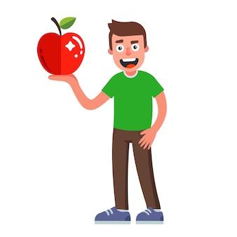 Uomo con una mela in mano. cibo dietetico per vegetariani. illustrazione di carattere piatto.
