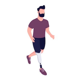 Uomo con gamba artificiale che esegue il personaggio senza volto di colore piatto. handicap sportivo che esercita. il giovane con la protesi dell'arto ha isolato l'illustrazione del fumetto per progettazione grafica e l'animazione di web