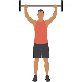 Uomo con bilanciere vettore sollevamento pesi palestra esercizio fitness