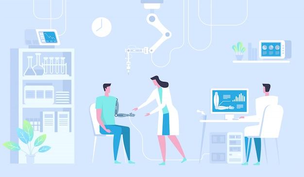 Uomo con braccio bionico. mano artificiale. medicina del futuro.