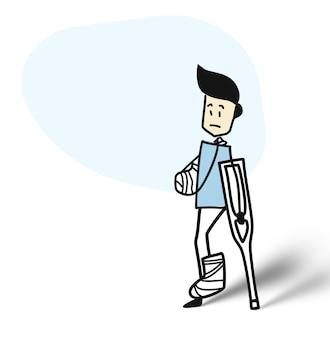 Uomo con una gamba rotta - paziente, illustrazione vettoriale di schizzo disegnato a mano del fumetto.