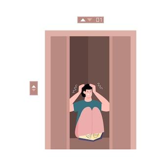 Uomo con claustrofobia nell'illustrazione piana di vettore del fumetto dell'ascensore isolata