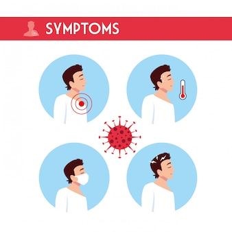 Uomo con disegno vettoriale di sintomi di virus covid 19