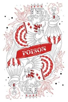 Uomo con corona e tubo del veleno