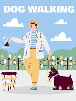 Uomo con cane che pulisce gli escrementi dopo l'illustrazione di vettore del fumetto dell'animale domestico
